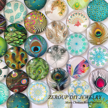 ZEROUP 12mm round glass cabochon new peacock feathers pictures mixed pattern fit cameo base setting for jewelry 50pcs/lot