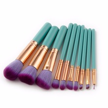 Romantic 10Pcs Set Professional Makeup Brush Foundation Professional Blush Concealer Synthetic Powder Hair Nature Brushes Tools