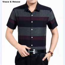 Korean style bussiness casual striped short sleeve shirt men's clothing Summer new arrival high-quality cotton men shirt M-XXXL