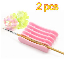 2pcs Plastic Brush Pen Holder Stand Rest Acrylic Tools Nail Art Sand Bar Nail File For Holding Pen Nail Art Brush(China)