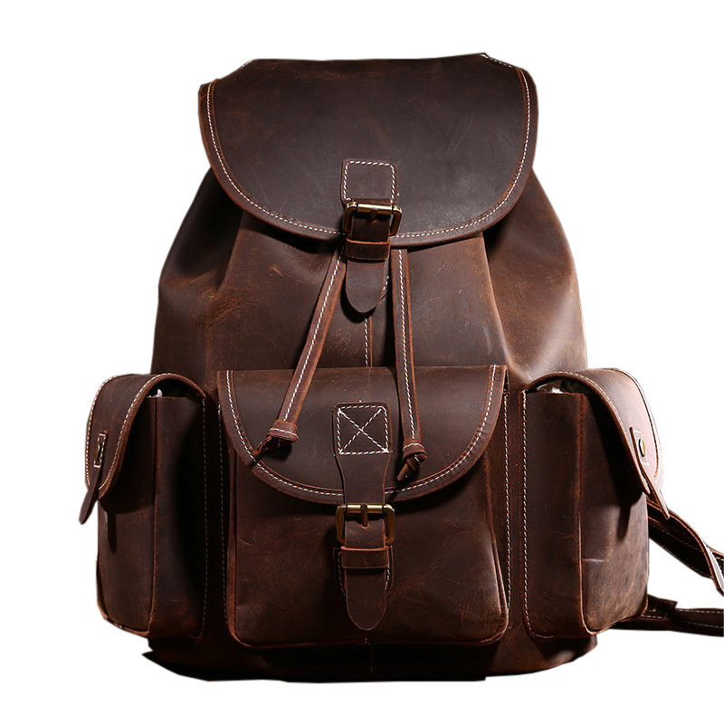 Genuine Leather String Backpack Top Quality Brand Vintage Crazy Horse Shoulder Men Travel School Bags For Teenager Backbag <br><br>Aliexpress