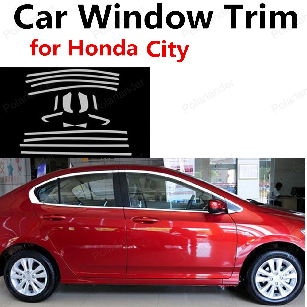 hot!! Stainless Steel For Honda City Decoration Strip Car Accessories without column Car Styling Window Trim <br><br>Aliexpress