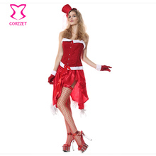 Burlesque Red Halter Corset Skirt Fancy Dress Women's Santa Outfit Christmas Sexy Costume Cosplay Halloween Costumes For Adults(China)