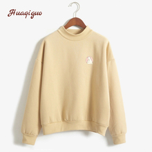 New Women Hoodies College Wind Autumn Winter Fleece Lovely Cute Printed Sweatshirt Girls Long-sleeve Turtle Neck Jumper(China)