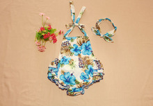 newborn baby girl clothes Baby Infant Girls Rompers  print  blue Floral Jumpsuit+headband  simplicity Creative  flowers Patterns