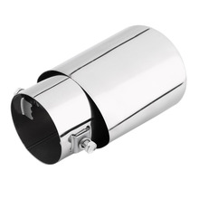 Universal Car Exhaust Muffler Tip Stainless Steel Pipe Chrome Trim Modified Car Tail Throat Liner Pipe Exhaust System New(China)