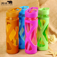 2017 New Seal Straw Sport Water Bottle Anti Hot With A Plastic Sleeve Drink Bottles Eco-friendly Protein Powder Shaker Send free