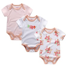 3PCS/LOT Great Value Baby Rompers Boys&Girls Short Sleeve O-Neck 0-12M Novel Newborn Baby Clothes Roupas de bebe Baby Wear(China)