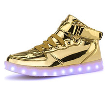 led high top shoes woman ligh up Glowing led casual neon shoes woman flat with neon basket Glowing shoes lace hot fashion