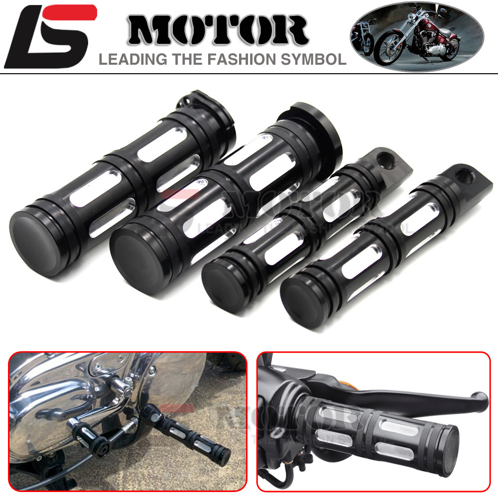 Hot sales Motorcycle Accessories CNC Aluminum 125mm handlebar hand grips + Foot Pegs for harley Davidson Sportster XL883 XL1200<br><br>Aliexpress