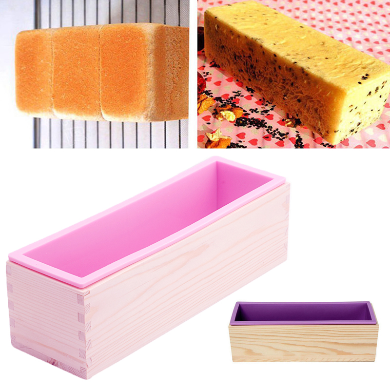 Loaf Silicone Liner Soap Moulds With Wooden Box DIY Making Tools Bakeware Mold<br><br>Aliexpress