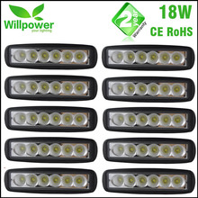 10 Pcs pack black finished 6 Inch Spot Flood 12 volt single row 18W LED work Light Bar 4x4