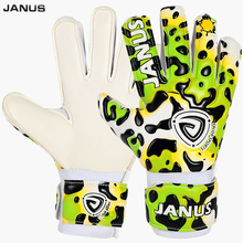 JANUS Kids Soccer Goalkeeper Gloves Profession Women Latex Leopard Green Red Children Football Gloves S443(China)
