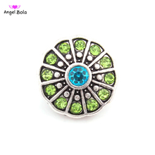 Pryme 2016 Fashion Design Green Beads 18mm Shape Snap Button Interchangeable Jewelry For Women Accessories 10pcs Wholesale T-080