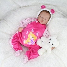 22Inches Silicone Vinyl Dolls With Sweet Dreaming Teddy  Dolls Bebe Reborn  For Girls Handmade Realistic Cotton Body