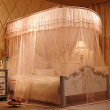 New mosquito net three open the door stainless steel square top U type 1.5m1.8 rice bed net(China)