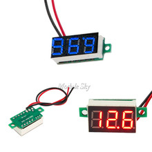 Free Shipping 0.36 Inch Mini LED Digital Voltmeter Red/Blue Panel Voltage Meter DC 4.7~32V 3-Digit Display Adjustment Voltmeter