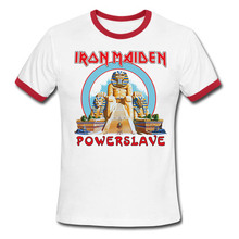 USAprint Fashion Cool Tee Shirts Iron Maiden Powerslave Album Print T-shirt Men Rock Roll Hip Hop Male Homme Fit Short Sleeve