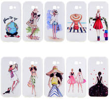 Fashion Travel Girl Pattern Phone Cases For Samsung Galaxy A5 2017 A520 Transparent Soft Silicone TPU Gel Back Cover