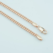 FJ Slim 3mm New 585 Gold Jewelry Women Mens Curb Necklace Long 45cm 50cm 55cm 60cm Link Chains