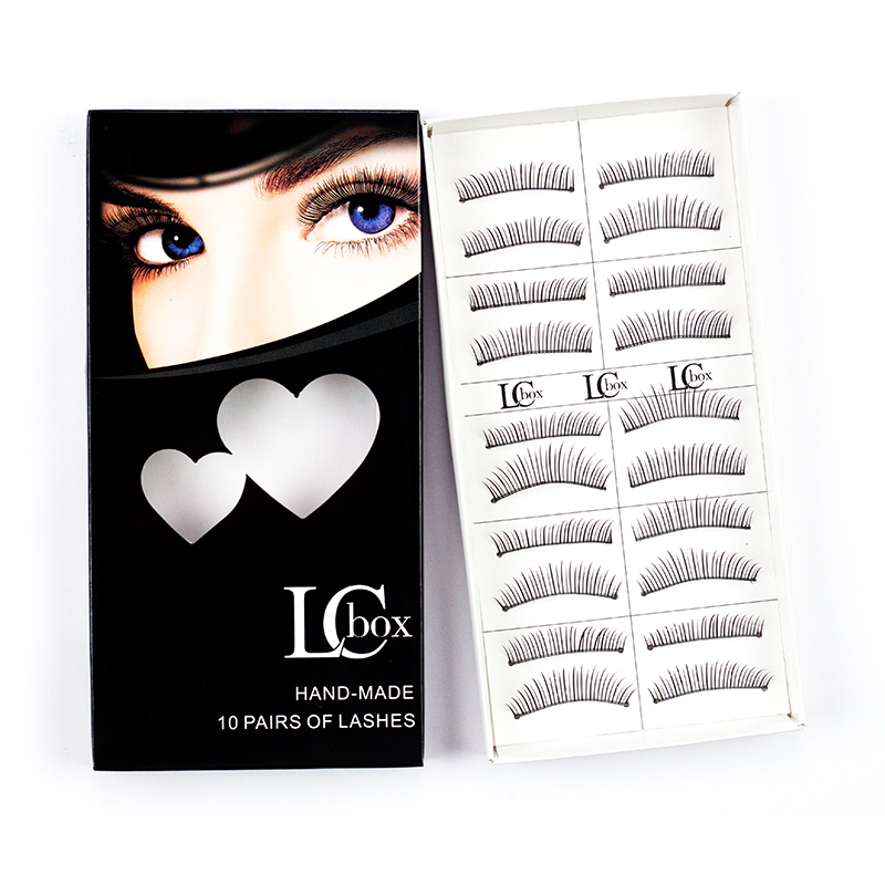 LCBOX 10 Pairs Comfortable Human hair Natural Long Cheap False Eyelashes for Makeup Beauty Eye Lashes Extension set