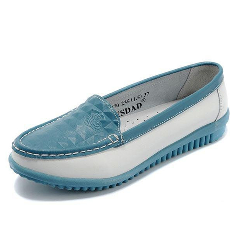 New 2017 Women Genuine Leather Flat Shoes Fashion Patchwork Candy Color Slip-on Women Loafers Ladies Casual Leather Flat Shoes<br>