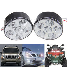 2Pcs Round Auto Car 4/6/9/15 LED DRL Driving Daytime Running Head Fog Light Lamp White