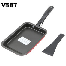 Square Frying Pan Tamagoyaki Eggs Roll Maker Sushi Omelette Fry Pans Mini Rectangular Nonstick Kitchen Tools Cookware Red Green(China)