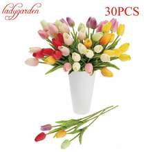 30pcs/lot Tulip Artificial Flower Cheap PU Plastic Bouquet Real Touch Flowers for Home Wedding Decorative Fake Flowers & Wreaths