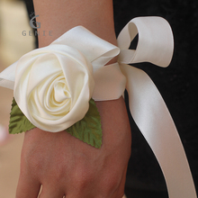 Genie 12pcs Ivory Artificial Silk Rose Wedding Decoration Wrist Corsage Hand Ribbon Flowers Bride Bridesmaids Prom Boutonniere