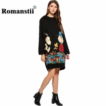 Romanstii Hoodies Women 2017 ew Poleron Kawaii Hooded Long Sleeve Hoody Print Pullover Hem Split Sweat Femme Long Hoodie Dress