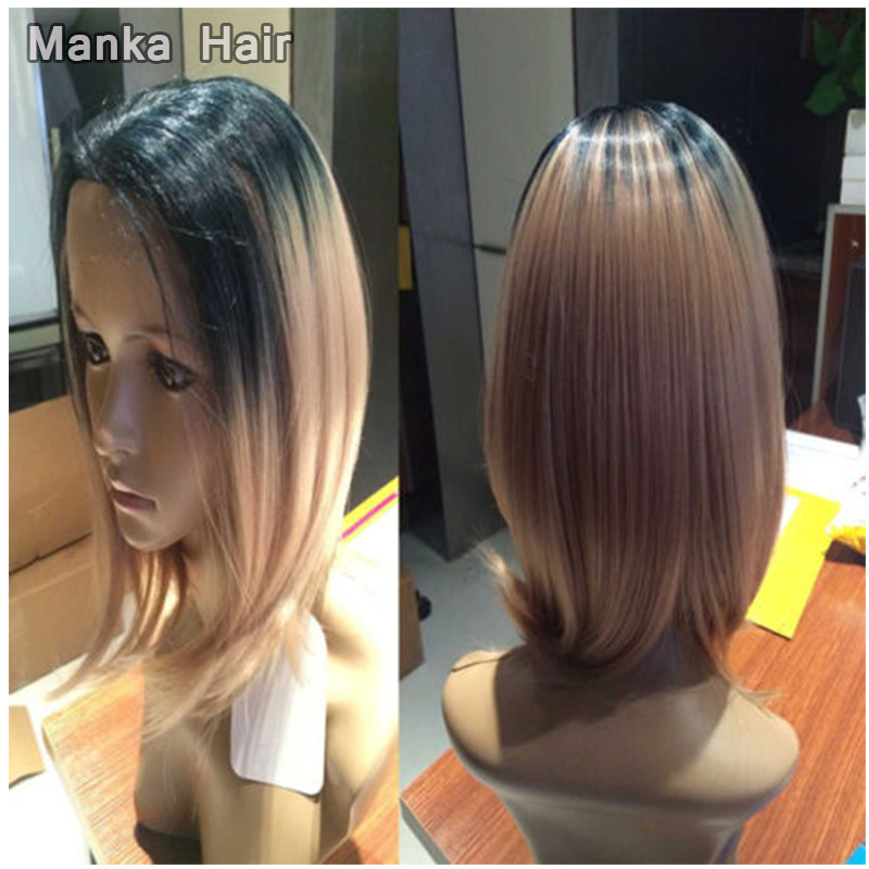 2 Tones Synthetic Lace Front Wig Ombre Hand Tied  Wigs Dark Roots Heat Resistant Fiber Hair Lace synthetic wigs<br><br>Aliexpress