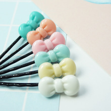 Free shipping 12pcs lovely Plastic bow-knot makeup hair maker accessory round toe color hair clip bobby pins Tools