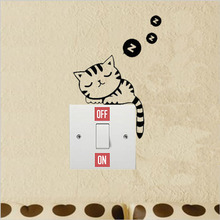 Removable Cat Black Art Vinyl Wall Decal Home Decor  Light Switch Stickers 3SS0002
