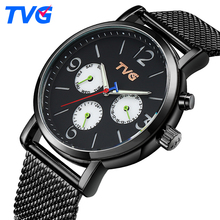 TVG Fashion Simple Mens Watches Top Brand Luxury Black Quartz Watch Men Waterproof Stainless Steel Sports Clock Men Wristwatch