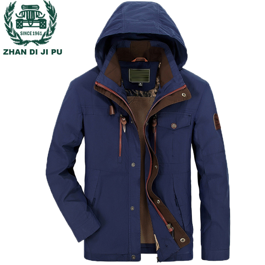 ZHAN DI JI PU Men's Hooded Outwear Windbreaker Jacket and Coat Plus Size M-4XL Jacket Men 160