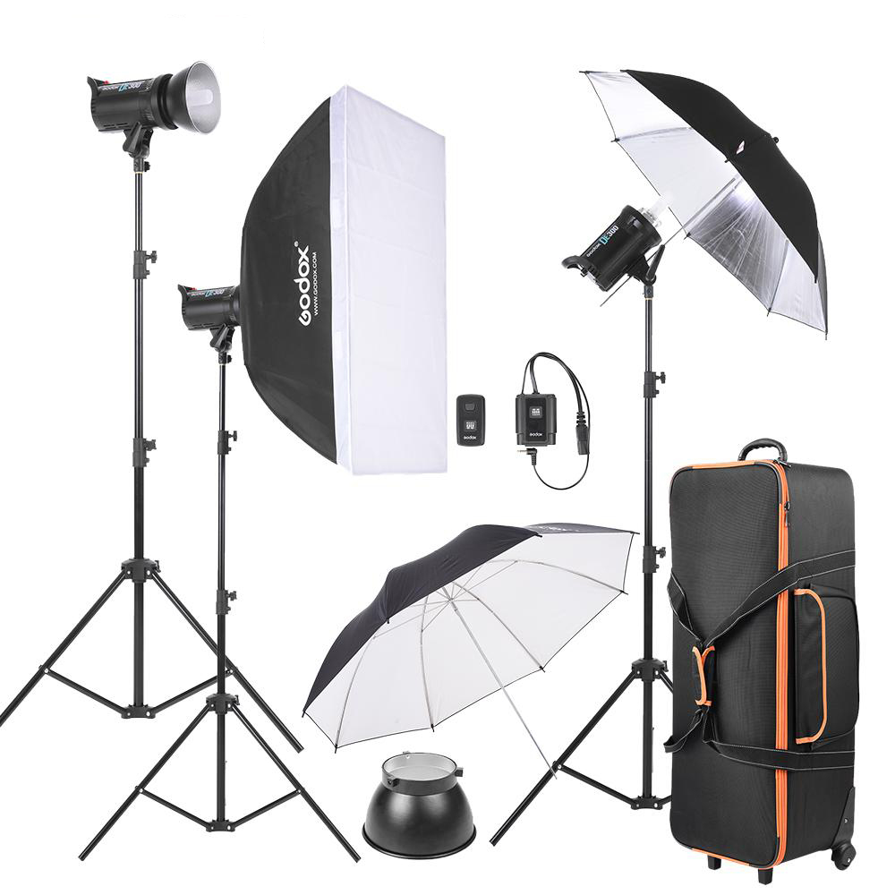 1 Light Stand Shade Carry Bag Softbox 1 Reflector Umbrella 1 1 Godox SK300-D 3 Soft Umbrella 300WS Studio Photo Strobe Flash Kit 3 1 Flash Trigger 1