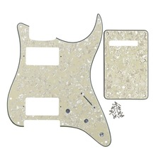 FLEOR Guitar Pickguard 11 Holes HH Strat Scratch Plate Back Plate Tremolo Cover & Screws for ST Style Guitar, Aged Pearl 4Ply(China)