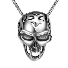 925 pure sterling silver Skull pendant necklace for men jewelry fashion gift buffalo skull jewellery stainless steel chain YN023