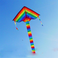 New Arival 1Pcs Rainbow Kite Without Flying Tools Outdoor Fun Sports Kite Factory Children Triangle Color Kite Easy Fly