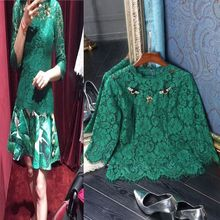 2017 New Summer European Women 3/4 Sleeve Elegant Design Solid Color Green & Black Lace Top Slim Beading Blouse High Quality