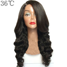 36C Glueless Full Lace Wig Human Hair With Side Bangs Brazilian Remy Hair Body Wave Wig Natural Color Could be Dyed For Women(China)