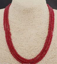 LiiJi Unique Genuine TOP 3 Rows 2X4mm Smooth Heating RED Rubys Colored Jades Bead Necklace 18''-20''