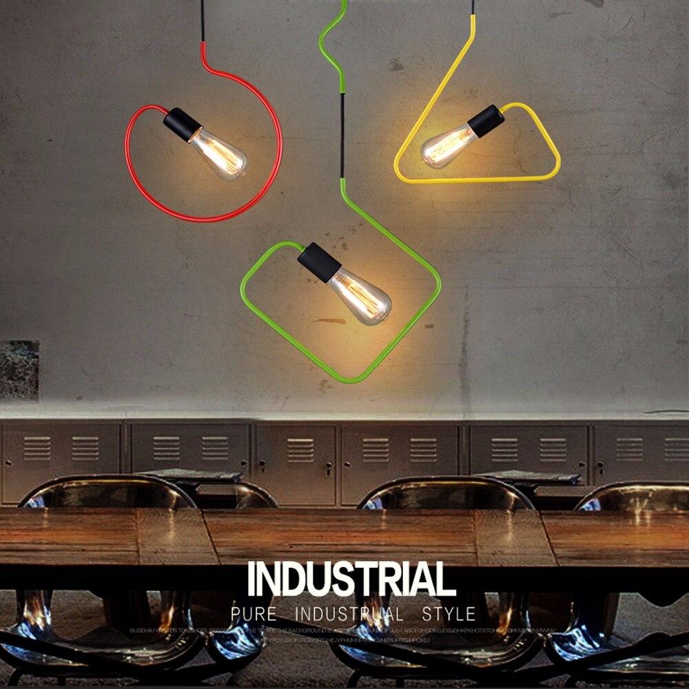 Pendant Lamp Dining Room Pendant Lamps Modern Colorful Restaurant Coffee Bedroom Pendant Lights Iron Material AC110V/220V E27<br>