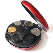 SAE Fortion Round Euro Coin Dispenser Storage Coins Purse Wallet Holders Storage Box Aluminum Alloy+ Plastic Coins Purse Wallet(China)