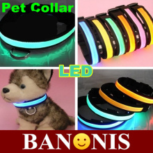 Fashion LED pet collar sided translucent,luminous collar SML size,dog supplies,pet supplies,red, yellow,green, blue, pink,2X