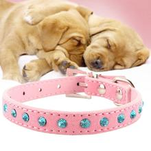 Hot Bling Crystal Rhinestones Leather Pet Dog Collars Puppy Cat Choker Necklaces Pink M Adjustable Puppy Collar Buckle