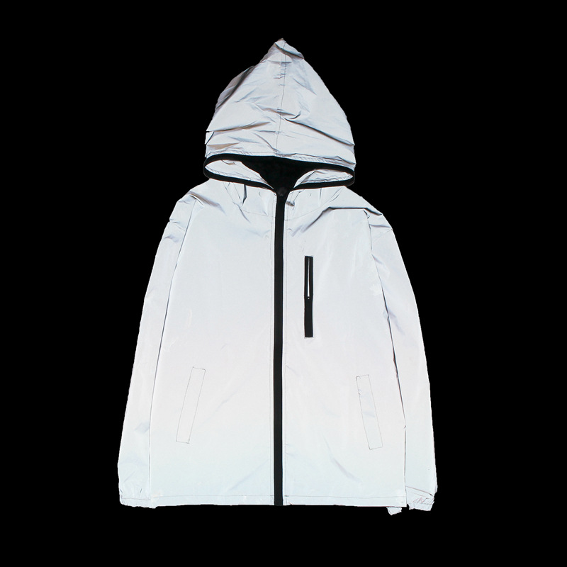 Men Reflective Hooded Trench Jackets Coat Night Clubwear Windbreaker JL