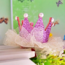 M MISM New Arrival Girls Yarn Hair Accessories Pearls Crown Shaped Fabric Hairpins BB Christmas Dancing Party Princess Hair Clip(China)