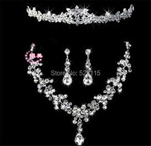 1set/lot  Bridal tiara jewelry set wedding crystal rhinestone flower Necklace earrings Set Wedding hair jewelry Accessories!!